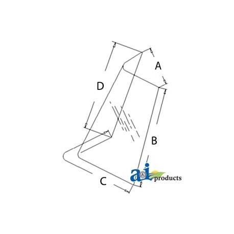 Tractor Cab Glass 3233041R2 - Rear, Corner (RH)