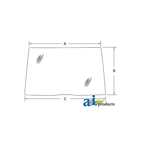Tractor Cab Glass 190032A5 - Windshield, Front