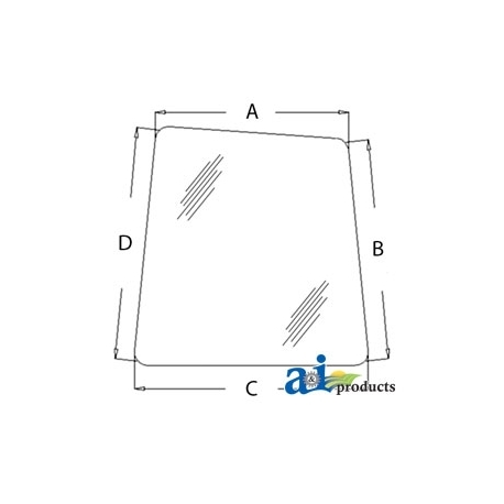 Excavator Cab Glass AT214163 - Front (RH)