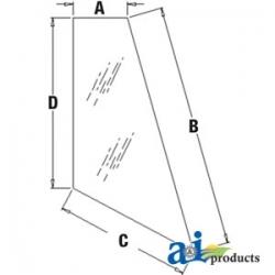 Construction Machine Cab Glass T164708 - Rear, Corner (LH)