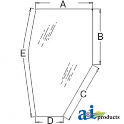 Tractor Cab Glass 3A751-70770 - Door (LH) - Tinted