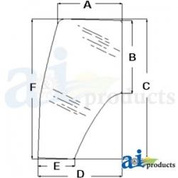 Tractor Cab Glass 82036001 - Door (LH)