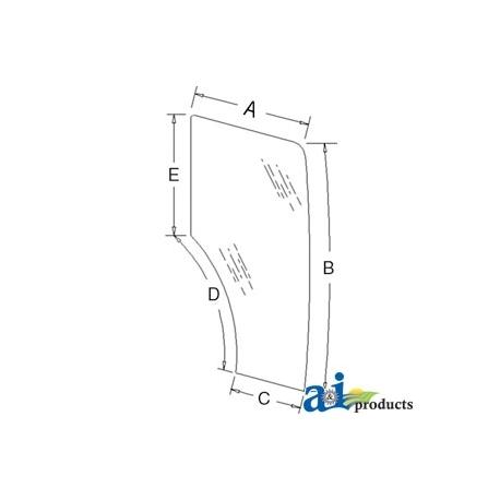 Tractor Cab Glass 44910452 - Door, RH, (6 Holes)
