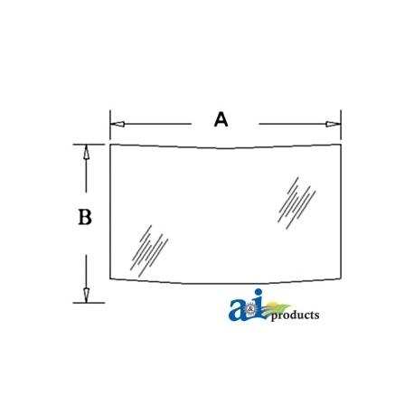 Construction Machine Cab Glass D129969 - Rear, Lower