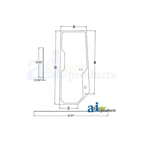 Construction Machine Cab Glass T167508 - LH Door