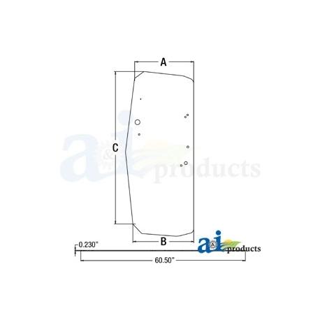 Construction Machine Cab Glass T205205 - LH Door