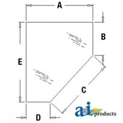 Construction Machine Cab Glass 338428A1 - Door, Lower (RH)